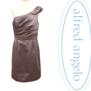 Alfred Angelo 1 Shoulder Charcoal Satin Dress NWT